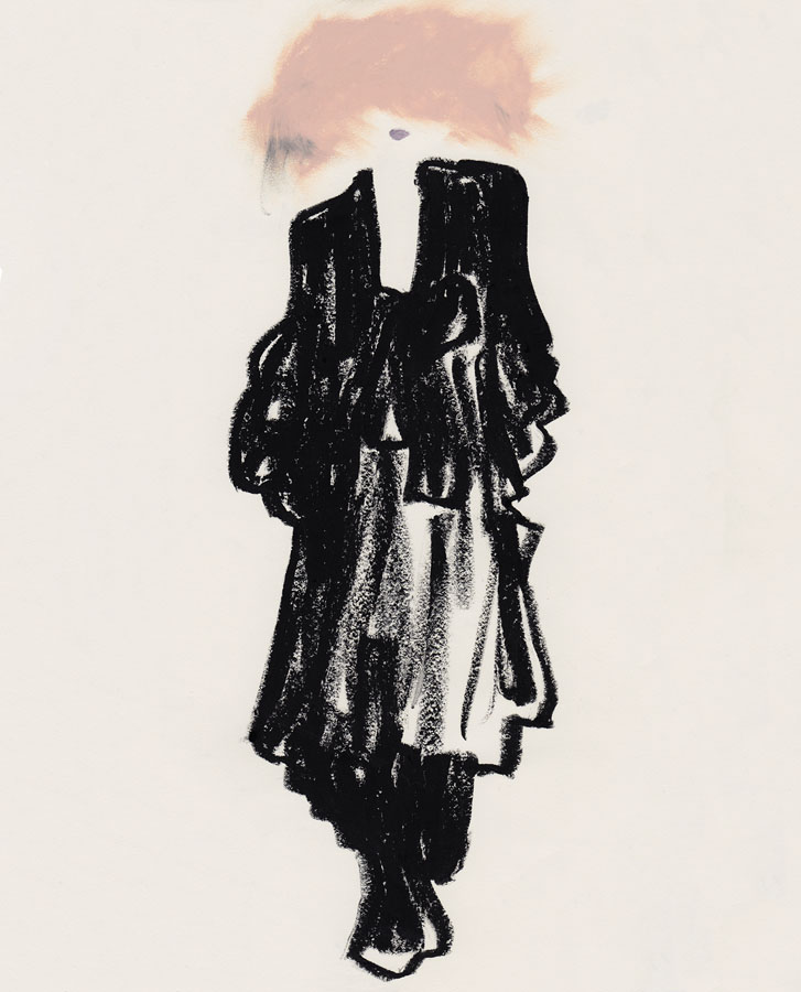 Illustration of woman wearing a black Valentino couture dress and pink hat.
