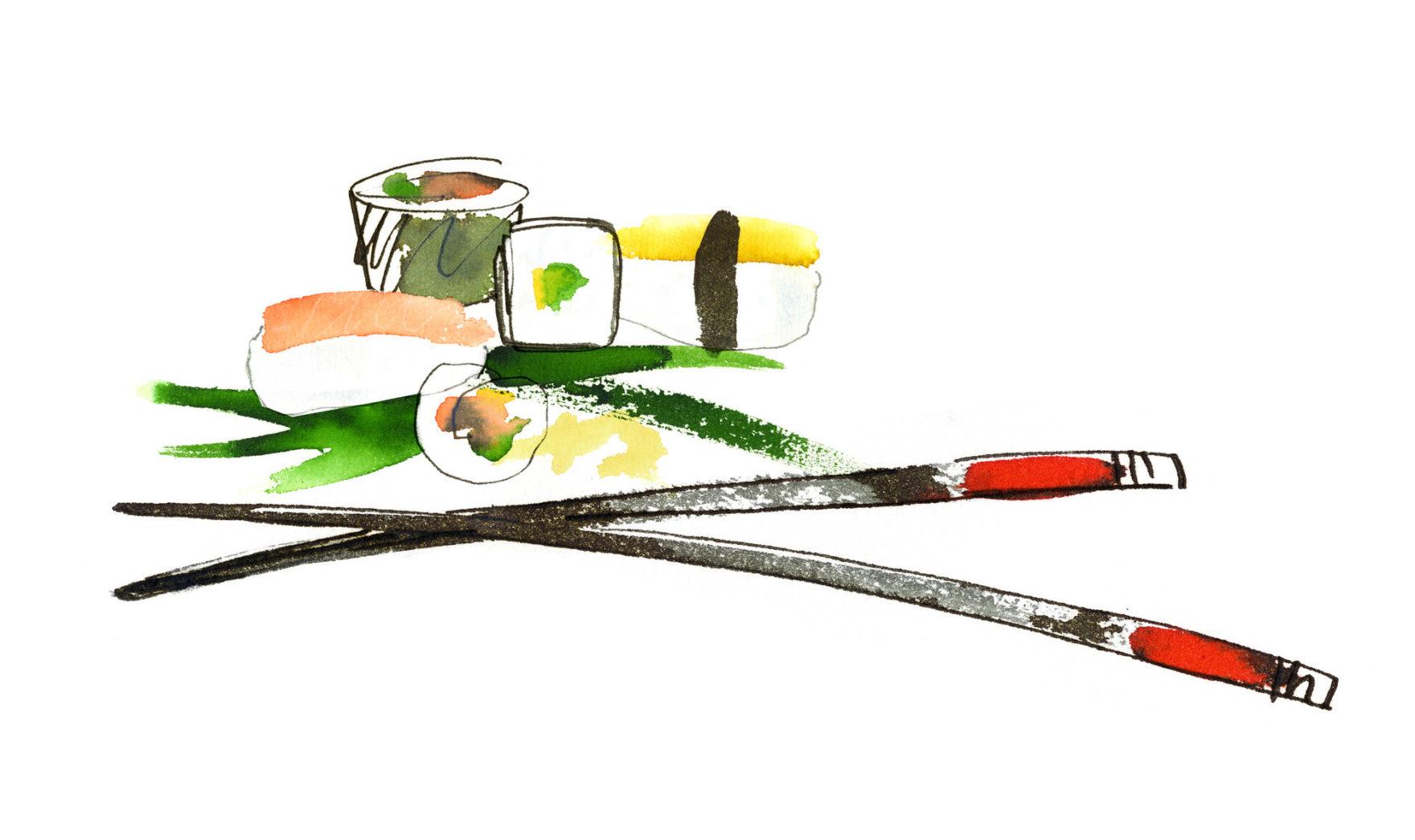 суши рисунки красками дизайн