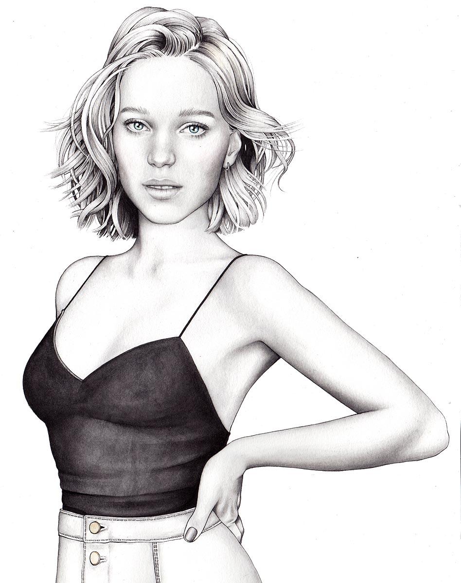 Illustrator Hanna Muller, portrait of Lea Seydoux