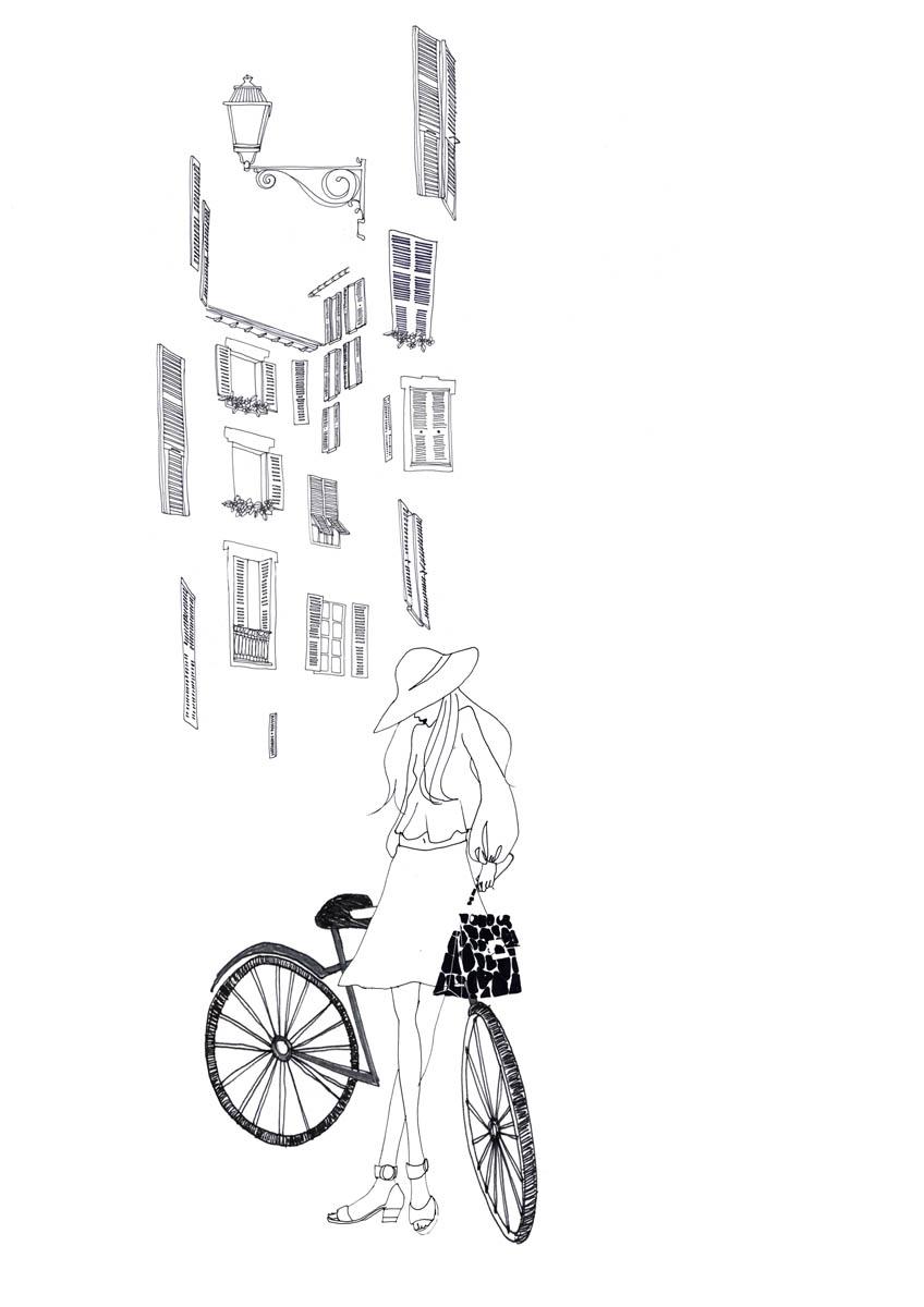 Illustration au stylo d'une femme avec un vélo devant une façade parisienne.