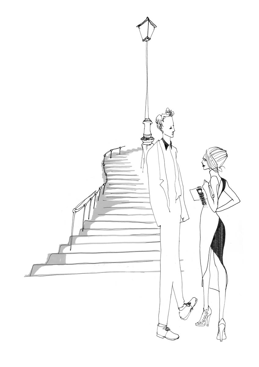 Illustration d'un couple en bas d'escaliers et lampadaire à Paris.