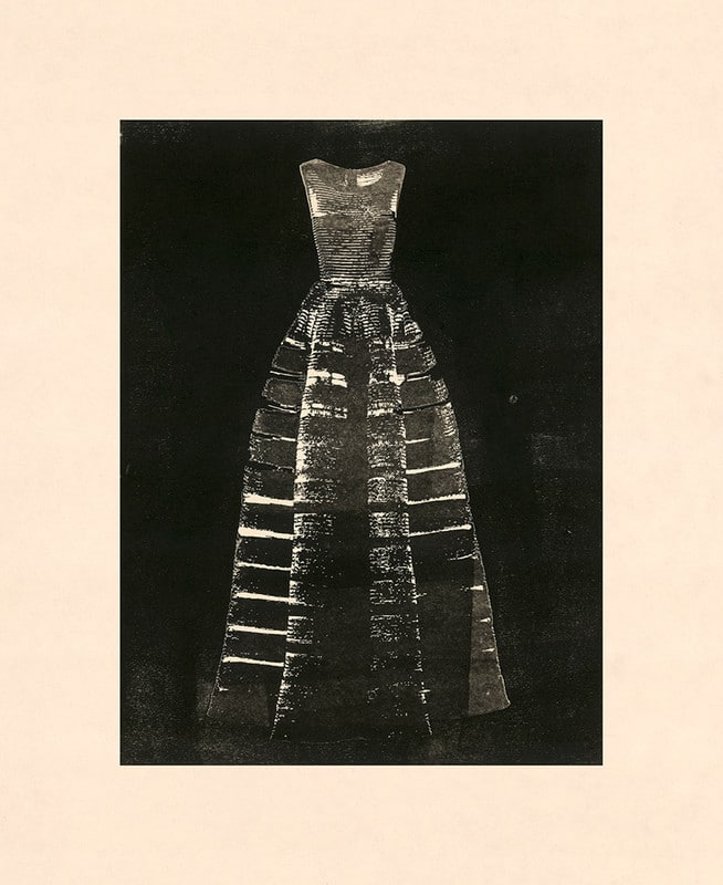 Monotype of Alaïa dress.
