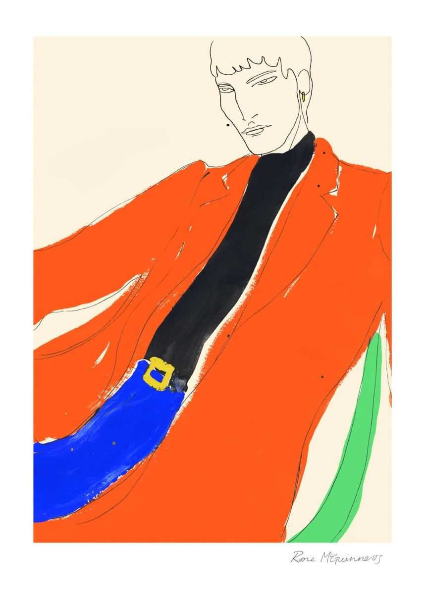 Illustration of man in orange jacket.