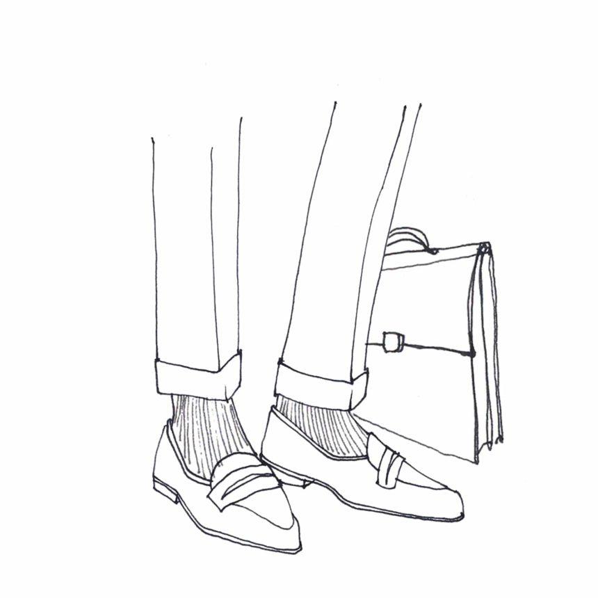 Illustration au trait d'un pair de jambes d'homme avec des chaussures.