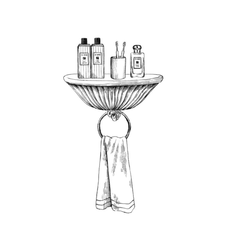 Line drawing of a shelf with bottles.