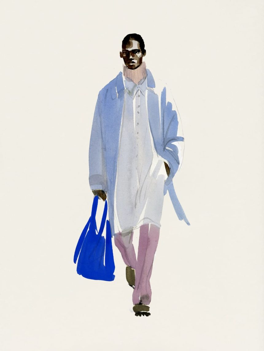 Illustration of walking black man in blue coat.