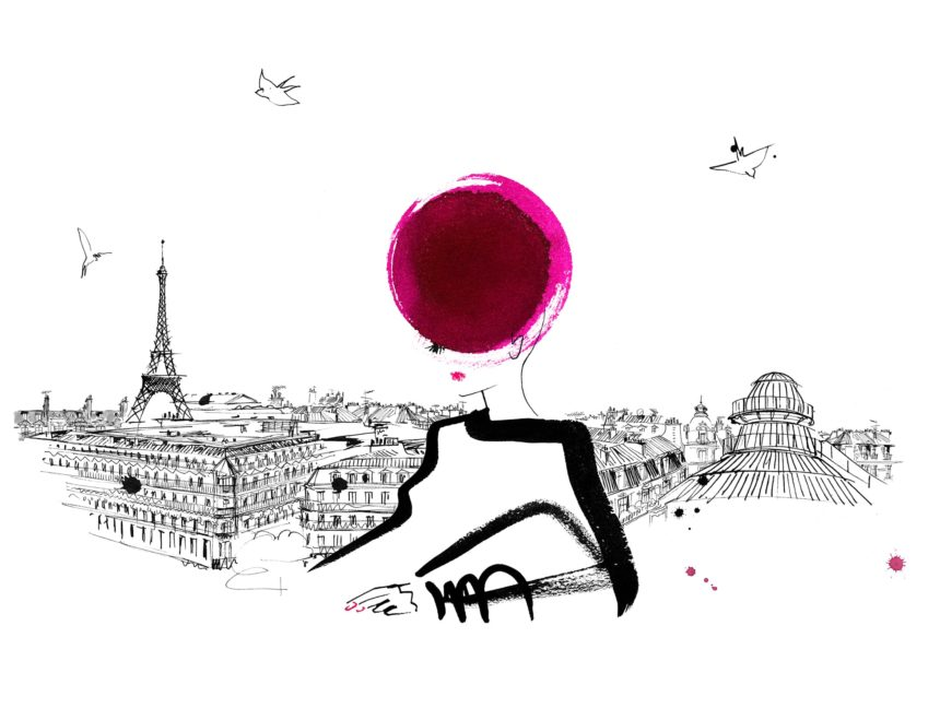 Illustration of lying silhouette in front of the Paris skyline.