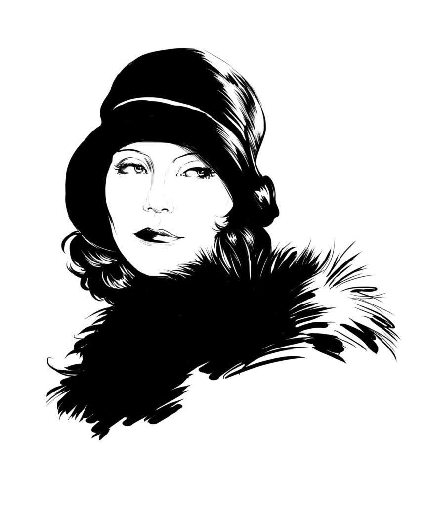 Portrait illustré de Greta Garbo.